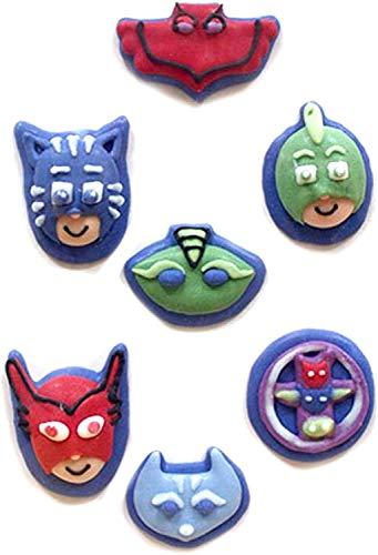 Generique - PJ Masks-Zuckerfiguren 2D Kuchendeko 7 Stück bunt 11g
