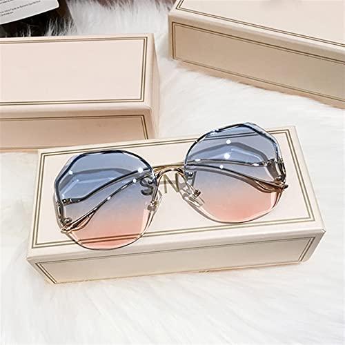 ASZX Gafas de Sol de gradiente marrón Femenino Océano de Agua Corte de Agua Lente de Ajuste de Metal Curvado Curvado Gafas de Sol Gafas de Sol Femeninas UV400 Red sin Borde Gafas de Sol Rojas 622