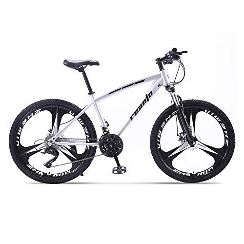 Bicicleta, Bicicleta Todo Terreno de 30 Velocidades, Bicicleta de Montaña de 24/26', con Asiento Ajustable y Cuadro de Acero de Alto Carbono, para Adultos, Antideslizante, Doble Freno de Disco