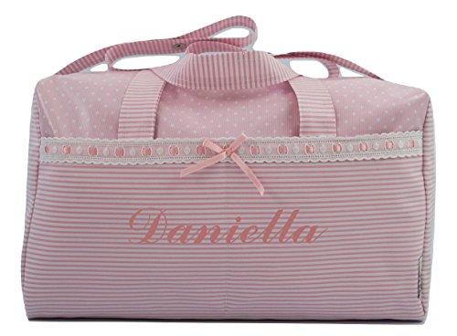 BOLSO MATERNAL PLASTIFICADO tipo maleta BORDADO CON EL NOMBRE DEL BEBÉ. Modelo Verona. Varios modelos disponibles. (Rosa)