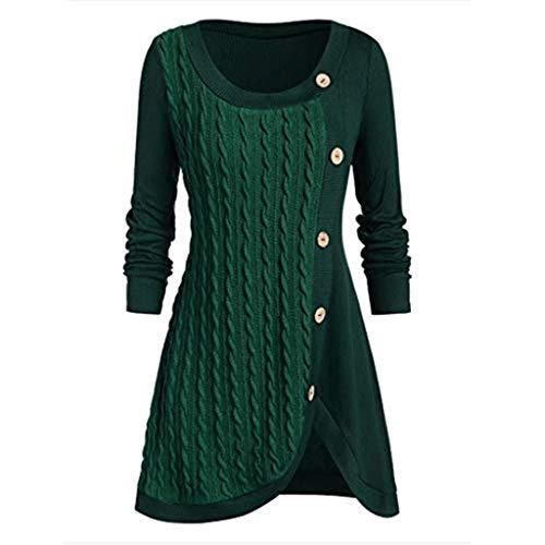 KPILP Damen Lange Bluse Pullover Elegant Kleid Winter Plaid Asymmetrisch T Shirt Kleider Patchwork Partykleider Bluse Oberteile Tunika Mode Mini Kleiden