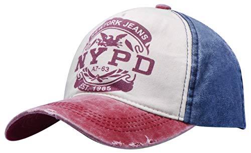 Wilhelm Sell® Elegante Gorra de béisbol en NYPD Estilo Vintage y Usado - tamaño: de 50 cm a 60 cm de Circunferencia de la Cabeza (01 Piezas - Azul)