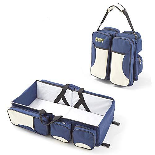 Multifunctionele 3 in 1 Baby Verwisselbare Tassen, Travel Bassinet Bed Draagbare Opvouwbare Luier Verwisselbare Tas Mama Messenger Tas Baby wieg wieg voor 0-12 Maanden Donkerblauw