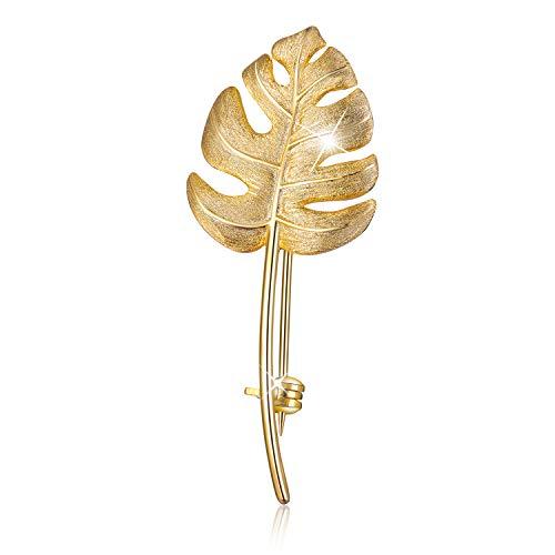 Lotus Fun S925 Sterling Silber Broschen Monstera Leaves Brosche für Frauen und Mädchen, Handgemachter Einzigartiger Schmuck (Gold)