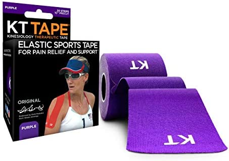 "KT Tape Original Cotton Elastic Kinesiology Therapeutic Athletic Tape, 20 Pack, 10"" Cut Strips"