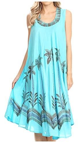 Sakkas 117 Watercolor Palm Tree Tank Caftan Short Dress - Turquoise/One Size