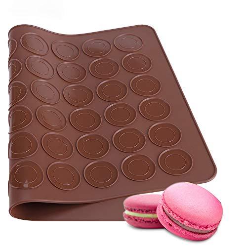 Dioche Macarons - Set para macarons, capacidad para hasta 48 macarons, juego de 48 moldes de horno con capacidad de agujeros para macarons, 39 x 28,5 cm