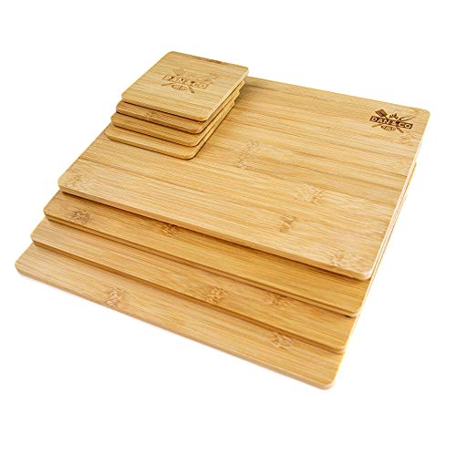Dan&Co Bamboo Placemats & Coasters Set of 4 | Dining Table Mats | Wooden Placemats | Non-Slip & Eco-friendly Dining Sets | Easy Clean