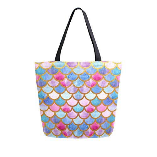 Naanle Mermaid Canvas Tote Bag Large Women Casual Shoulder Bag Handbag, Watercolor Mermaid Scale Reusable Multipurpose Heavy Duty Shopping Grocery Cotton Bag for Outdoors.