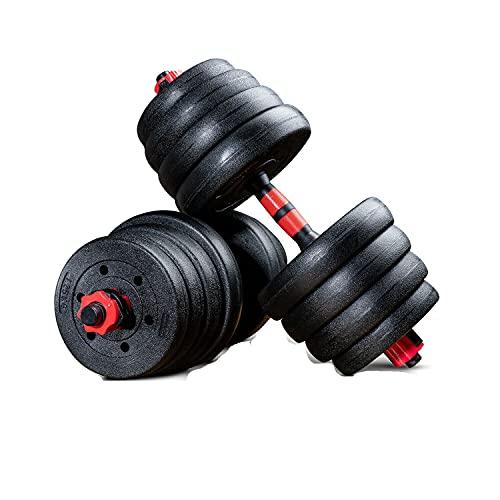 Sportstech 2in1 innovatives Hantel Set AH150 | Kurzhanteln & Langhanteln | Hanteln im 20kg, 30kg, 40kg Set | Sicherheitsverschluss + extra langes Verbindungsstück 400mm |Fitness für Männer & Frauen