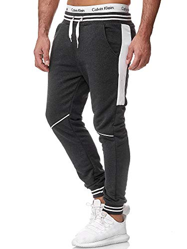 OneRedox Herren Jogging Hose Jogger Streetwear Sporthose Modell 1317 Antrazit M