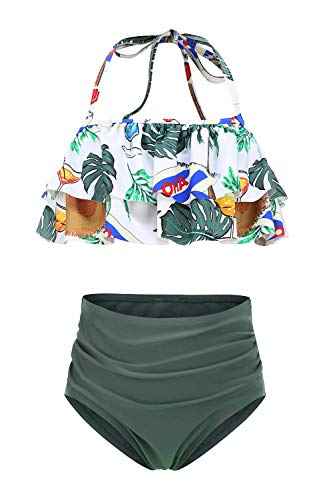 Girls Two Piece Swimsuits High Waisted Falbala Bikini Bathing Suit Set Kids Halter Neck Swimwear Size 12/10-12