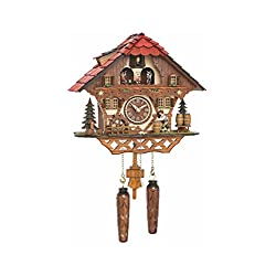 Trenkle Quartz Cuckoo Clock Black Forest House with Moving Beer Drinker and Mill Wheel, with Music TU 4208 QMT HZZG
