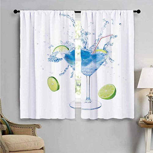SUZM Room Darkening Wide Curtains, Martini Splashing Lime, Customized Curtains W63 x L63 Inch