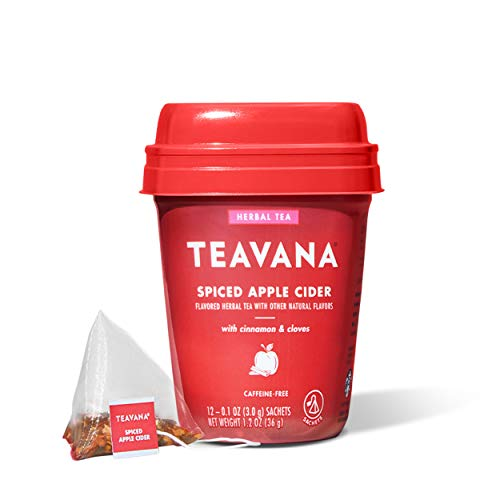 Teavana Spiced Apple Cider, Herbal Tea With Cinnamon & Cloves, Caffeine Free (4 Pack, 48 Sachets Total)