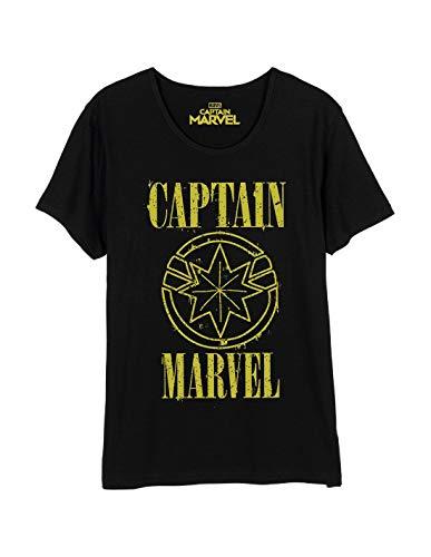Camiseta Capitán Marvel para Mujer con Logo Grunge Star Algodón Negro - S