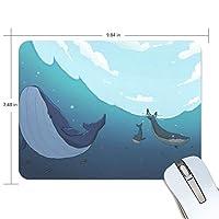 かわいい動物 鯨 マウスパッド 滑り止めゴム製裏面 おしゃれ 厚くした 事務用のマウスパッド 携帯用 25X19CM