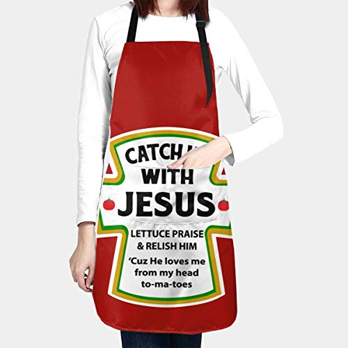 BAIFUMEN Catch Up with Jesus Christian Adjustable Bib Apron Waterdrop Resistant with Pockets Cooking Kitchen Aprons for Women Men Chef (33 x 28 Inches)