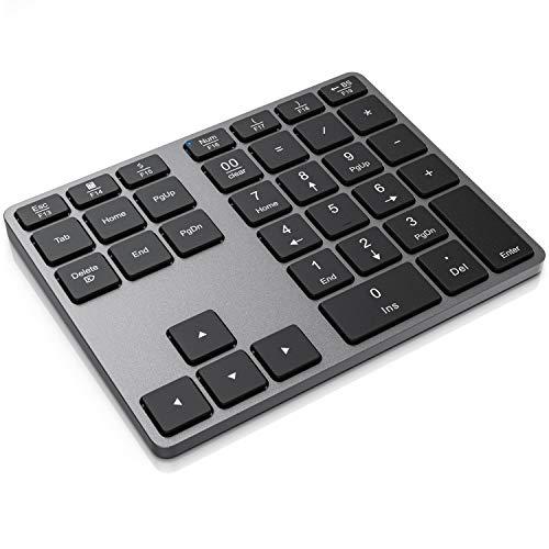 CSL - Bluetooth Numpad - Wireless Ziffernblock mit Multifunktionstasten – Keypad Aluminium - 35 Tasten – Bluetooth 3.0 – Kabellos - kompatibel mit Apple PC Notebook Tablet Laptop - Windows Android iOS