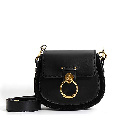 mlhk Satteltasche Für Frauen Umhängetasche Umhängetaschen Leder Designer Large Tote Echtmetallring Clutch Bag,Black-OneSize