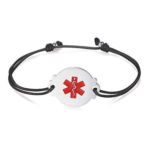 linnalove Medical Alert Bracelets for Women Simple and Fashion Handmade Adjustable Cord no bp no Needles Bracelets