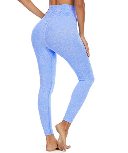 Yaavii Damen Sport Leggings Lange Blickdicht Yoga Leggings Figurformende Sporthose Yogahose Fitnesshose mit Hohe Taille Bauchkontrolle Blau M