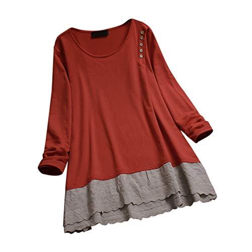 Buy Bargain Malbaba Plus Talla 3/4 Manga de Color Bloqueo de Color Vestido de Camisa de algodón de ...