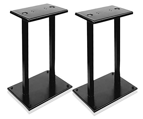 """13"""" Quad Speaker Stands (Pair) - Universal Heavy Duty Steel Base Top Plates & Vertical Columns w/ Adjustable Spikes Perfect for Home Surround Sound System Bookshelf & Satellite Speakers - Pyle PSTND18"""
