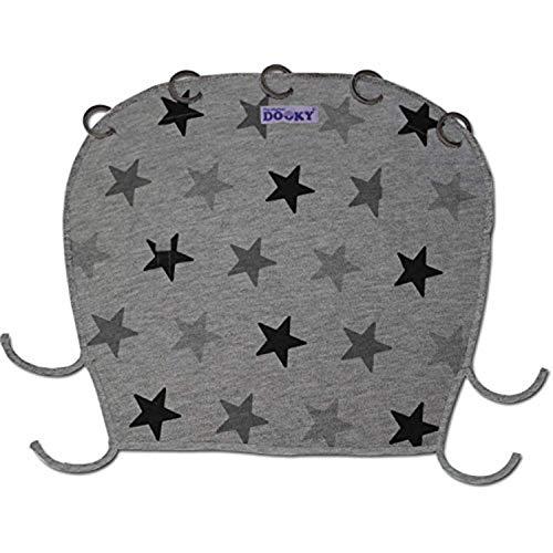 Dooky Universal Cover Grey Stars Protección Solar, Protección Climática Para El Asiento Del Bebé en el Coche y La Silla de Paseo (Protección Uv Spf 40+, Tüv Probado, Ajuste Universal), Gris
