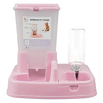 Vommpe Distributeur Croquettes Automatiques de Nourriture et d'eau pour Chat/Chien, Croquette pour Chiens Distributeur Eau (Rose)