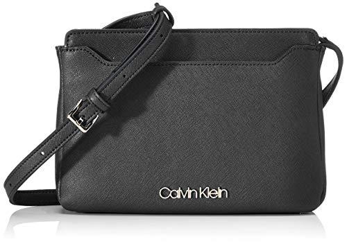 Calvin Klein Damen Worked Ew Xbody Umhängetasche, Schwarz (Black), 4x12x24 centimeters