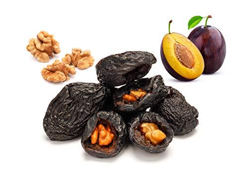 Ciruelas pasas enteras rellenas de nueces BIO 1kg ecológicas ciruela secas con nueces, deshidratadas, sin azucar añadido, orgánicas, 100% fruta natural, crudos secado al sol (no liofilizado) 1000g