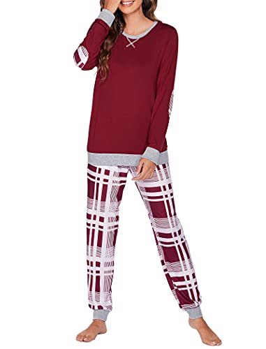 Venukiss Pyjama Damen Schlafhosen Nachtwäsche Langarm Schlafanzug Weihnachten S Weinrot