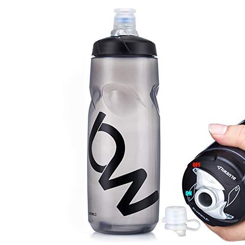 PFLife Fahrrad Trinkflasche BPA frei, Radsport Wasserflasche mit Düse auslaufsicher 750m weiß schwarz, Sportflasche für Fahrrad, Gym, Drauße, Sport & Freizeit (Schwarz, 25oz / 750ml)
