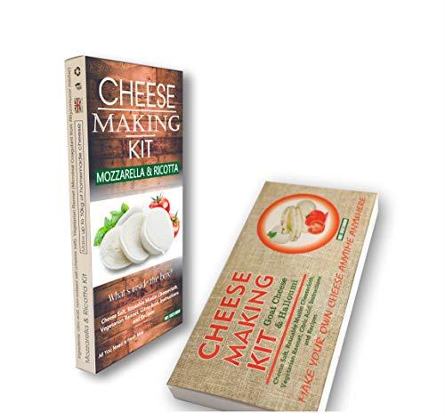 Kit de queso de cabra, Halloumi, mozzarella y ricotta kit de fabricación de queso ideal regalo para todas las ocasiones contiene cuajo