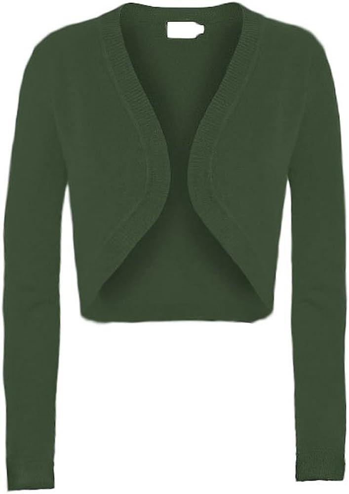 Solid Knit Long Sleeve Crop Open Bolero Cardigan
