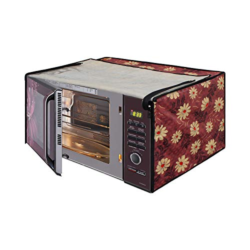 Glassiano Floral Red Printed Microwave Oven Cover for Electrolux 20 Litre Grill...