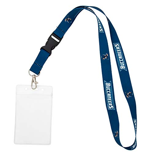Charleston Southern University CSU Buccaneers Car Keys College ID Badge Holder Lanyard Keychain Detachable Breakaway Snap Buckle (w/ Pouch Blue)