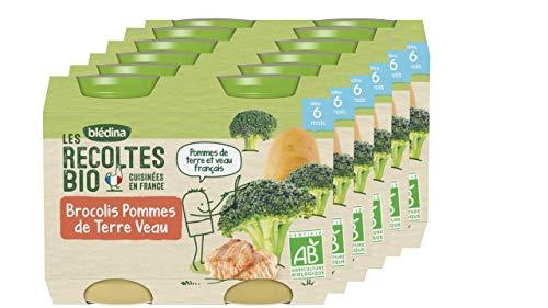Blédina, Les Récoltes Bio, Petits pots pour bébé bio, Dès 6 Mois, Brocolis, Pommes de Terre, Veau, 12x200g