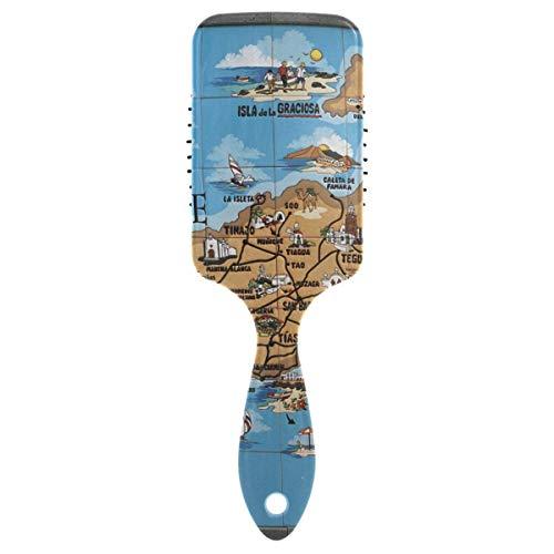 Cepillo para el pelo Lanzarote con base de cojín Ventilación de aire en el interior con dientes de peine lisos de nailon especial