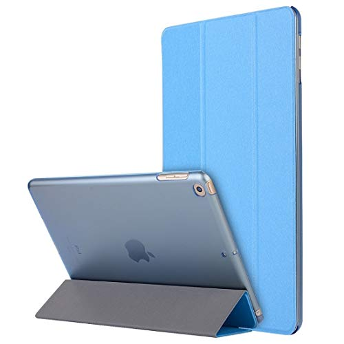 LM For Silk Texture Horizontal Flip Magnetic PU Leather Case, with Three-folding Holder & Sleep/Wake-up Function iPad 10.2 / iPad 10.2 2020 2021 NEW MODEL (Color : Light Blue)