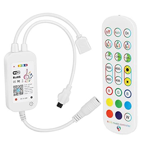 Brynnl Control remoto de luces LED con controlador, controlador WiFi de tira de luz LED RGB, 24 teclas inalámbricas para tiras de luces multicolores, compatible con Alexa / Google Home