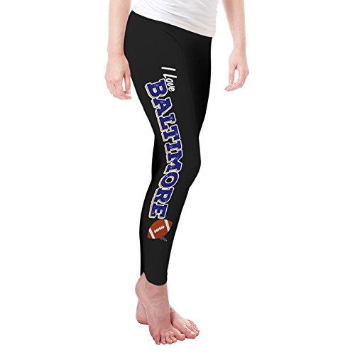 TWISTED ENVY Women's I Love Baltimore American Football Leggings Large Black