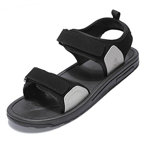 MAZHONG basses Sandales pour hommes Promenade Chaussures Sandales d'été Plage de sable Velcro Réglable Fermé Plat Sandales de marche Randonnée en plein air confortable ( Couleur : Gris , taille : EU37/UK4.5-5/CN37 )