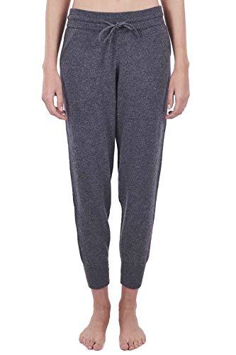 CASH-MERE.CH 100% Kaschmir Damen Yogahose, Jogginghose Sporthose, ideale Freizeithose und Trainingshose (Grau/Anthrazit, S)