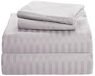 British Choice Juego de sábanas de Lino y algodón Egipcio, 4 Piezas, 500 Hilos, satén, algodón, Light Grey Stripe, Euro IKEA King