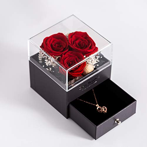 Taquolu Three Eternal Roses & Necklace Gift Box, Preserved Flower Real Rose Handmade Fresh Flower Rose for Women and Girls Anniversary Valentine's Day Mother's Day Birthday Gift - Red Rose