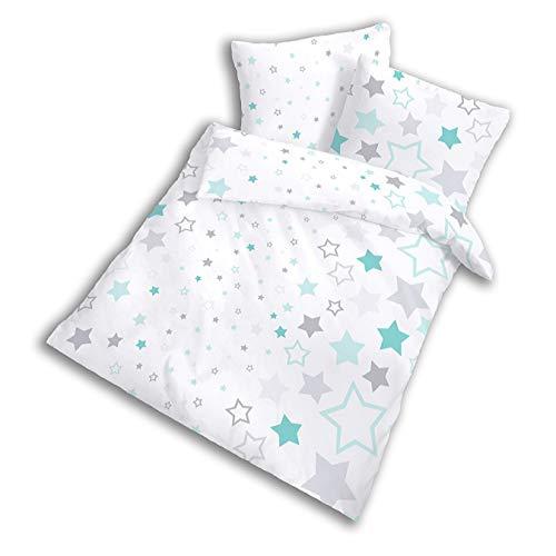 STERNE Baby-Bettwäsche Kinderbettwäsche für Mädchen & Jungen STARS türkis mint - 2 teilig Kissenbezug 40x60 + Bettbezug 100x135 cm - 100% Baumwolle