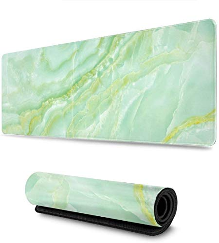 Green Marble Gaming Mouse Pad XL,Extended Large Mouse Mat Desk Pad, Stitched Edges Mousepad,Long Non-Slip Rubber Base Mice Pad,31.5X11.8 Inch