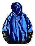 ZAFUL Sudadera con capucha para hombre, con estampado de letras y estampado de colores azul M